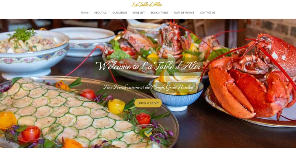 Home page of La Table d'Alix website