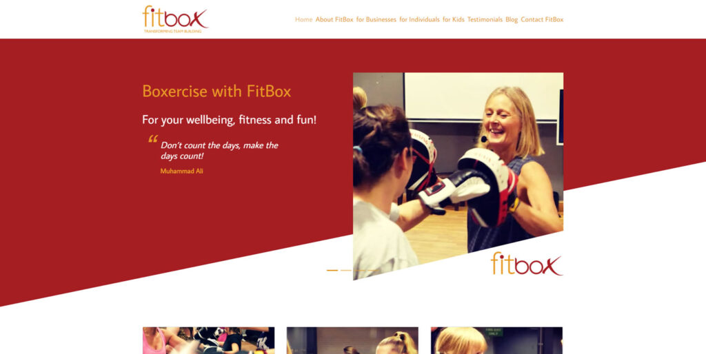 FitBox: home page screenshot