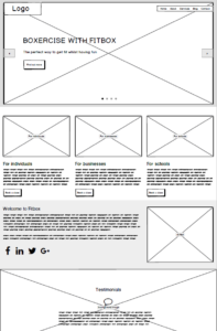 Wireframe for the Fitbox home page